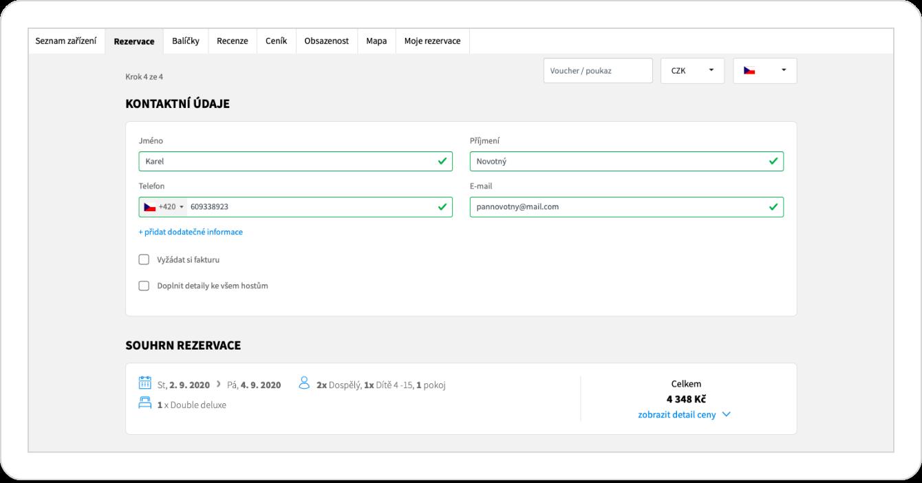 Online rezervačný formulár